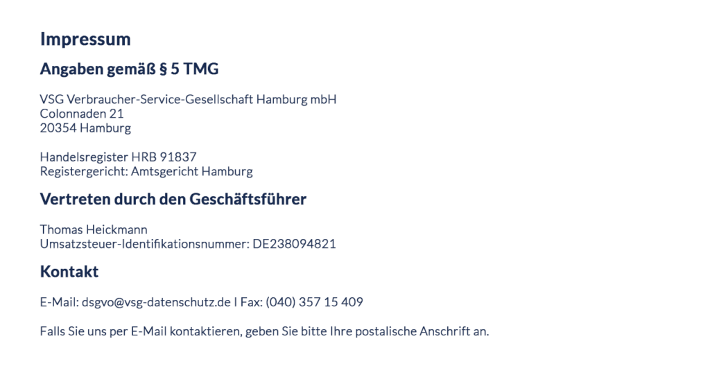 Impressum VSG Verbraucher-Service-Gesellschaft Hamburg mbH